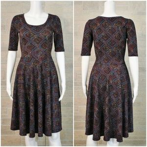 LuLaRoe Nicole Geo Print Fit & Flare Dress XS